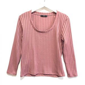 Mango dusty pink  ribbed silky  top, size M